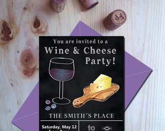 Party Invitation Wine And Cheese Etsy