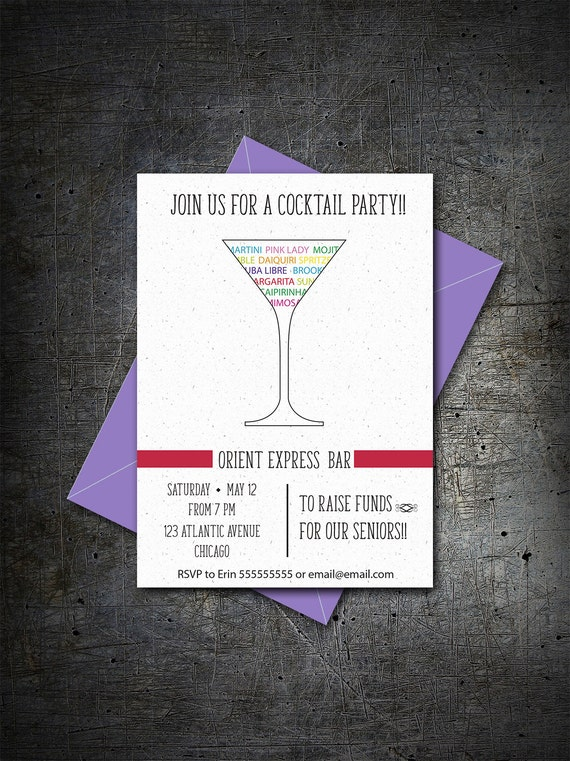 Printable Cocktail Party Invitation Fundraiser