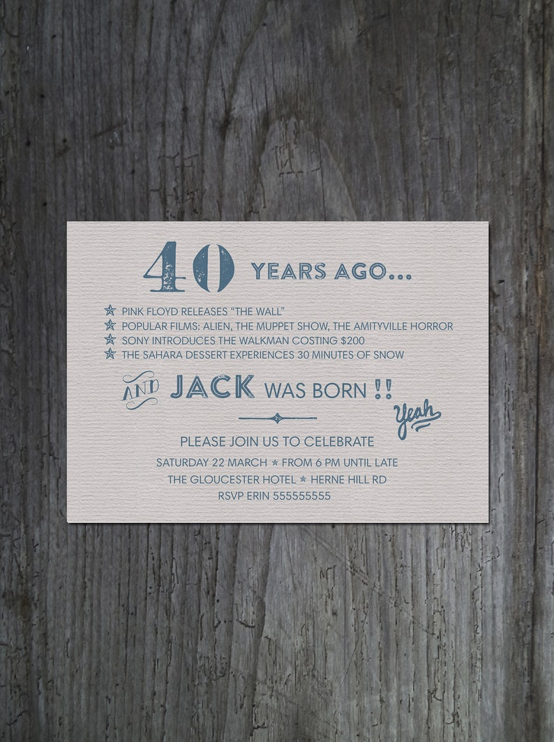 Printable 40th Birthday Party Invitation For Men Male