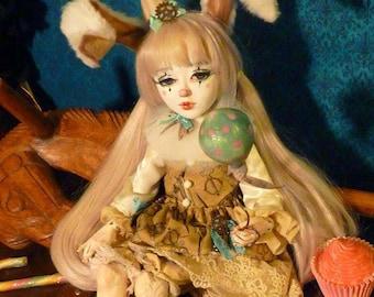 Pétronille, handmade Doll, unique piece.