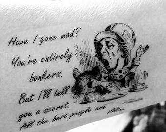 Alice In Wonderland Tattoo Quote Cheshire Cat Temporary Tattoo Etsy