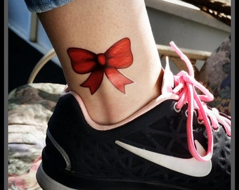 bf6a16537 Temporary tattoos red bow fake tattoos body art