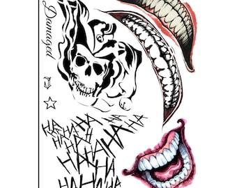 223507cf4 Joker tattoos Suicide Squad tattoos cosplay tattoos temporary tattoo  Halloween costume Harley Quinn temporary tattoos