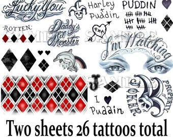 d2561a1e0 Harley Quinn tattoos Suicide Squad temporary tattoos Harley Quinn costume  tattoos Cosplay Halloween