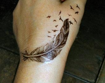 727bb5692e Birds of a feather temporary tattoos fake tattoos birds flying out of a feather  tattoo feather tattoos