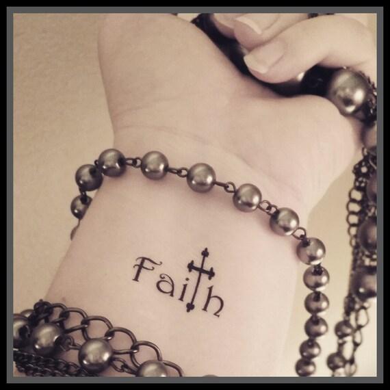 Fe Cruz Tatuaje De Tatuaje Temporal Del Tatuaje Religioso Etsy