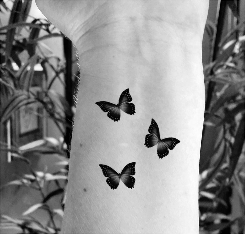889ed5291 Temporary tattoo butterfly tattoo set of 6 fake tattoo | Etsy