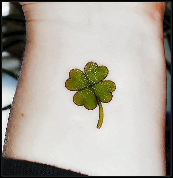4 Hoja Trébol De Día De San Patrick Tatuaje Temporal Verde Etsy