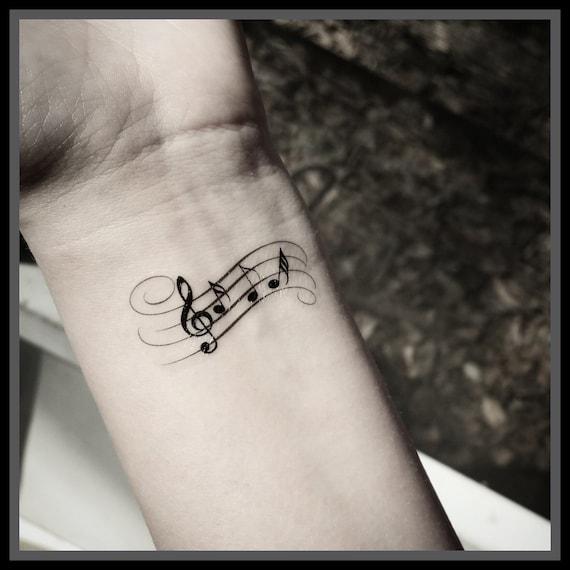 Música Nota Tatuaje Tatuajes Temporales Tatuajes De Música Etsy