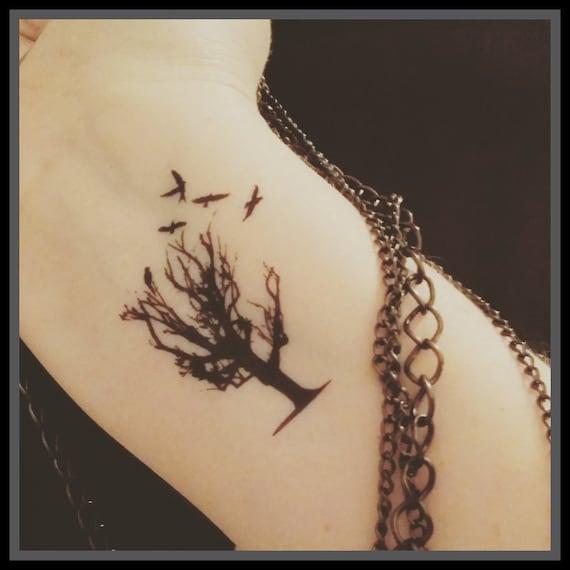 Ptaki Pływające Tatuaż Drzewo Tatuaż Ptaki Na Drzewie Tatuaż Fałszywe Tatuaż Tymczasowy Tatuaż