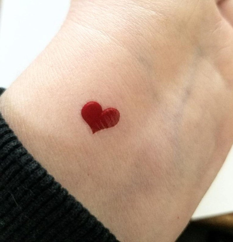 c8c371315 Tiny heart tattoo valentine heart small tattoos temporary | Etsy
