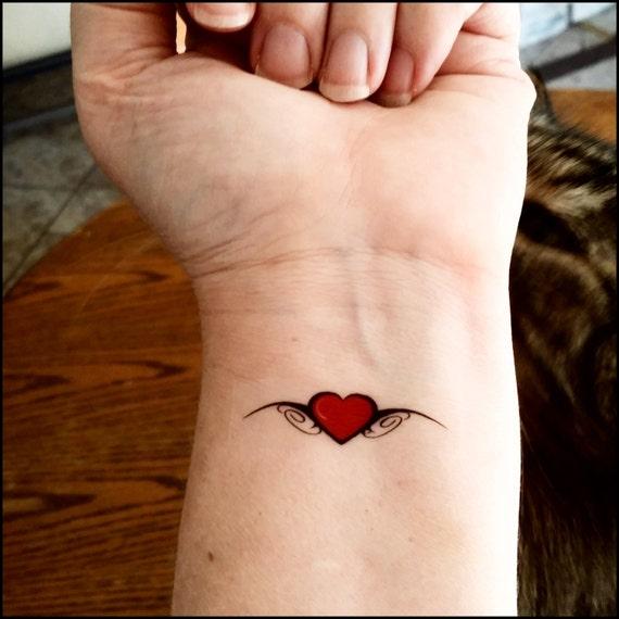 Coeur de tatouages temporaires rouge faux tatouages tatouage etsy - Image tatouage coeur ...
