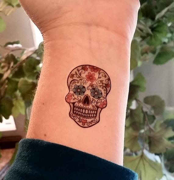 Zucker Schädel Temporäre Tattoo Tag Der Toten Tattoo Etsy