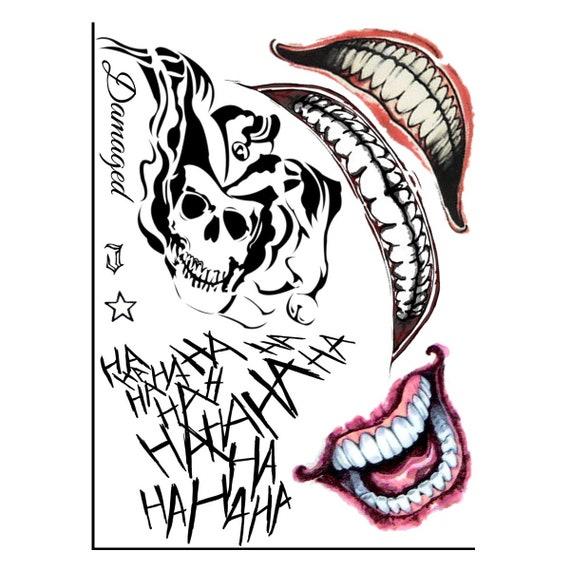 Joker Tatuaze Suicide Squad Tatuaze Cosplay Tatuaze Tymczasowy Etsy