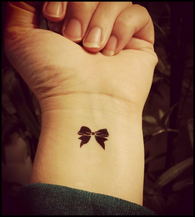 Tiny Bow Tattoos Set Of 4 Temporary Tattoos Fake Tattoos Etsy