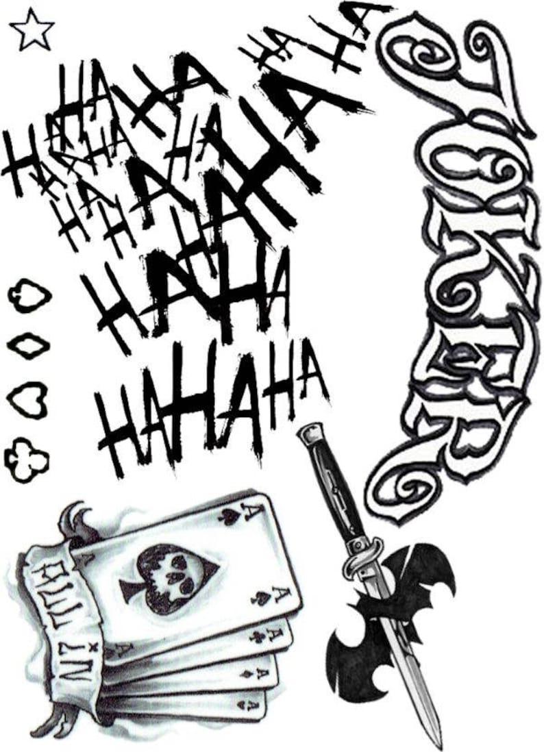 Joker Damaged Tattoo Png: Joker Suicide Squad Tattoos Hahaha All In Joker Halloween
