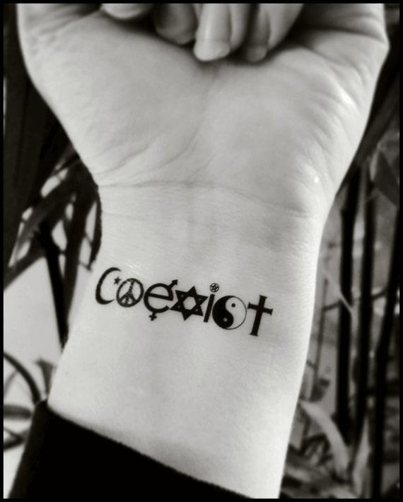 Temporary Tattoos Coexist Fake Tattoo World Peace Tattoo Etsy