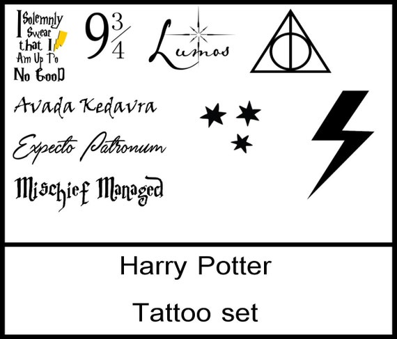 Harry Potter Tattoo Set Avada Kedavra Deathly Hallows Etsy