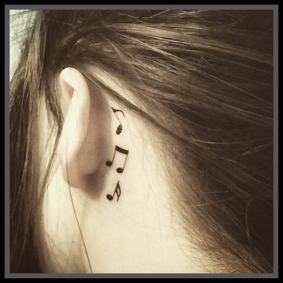 Temporary Tattoos Set Of 3 Music Note Tattoos Ear Tattoos Body Etsy