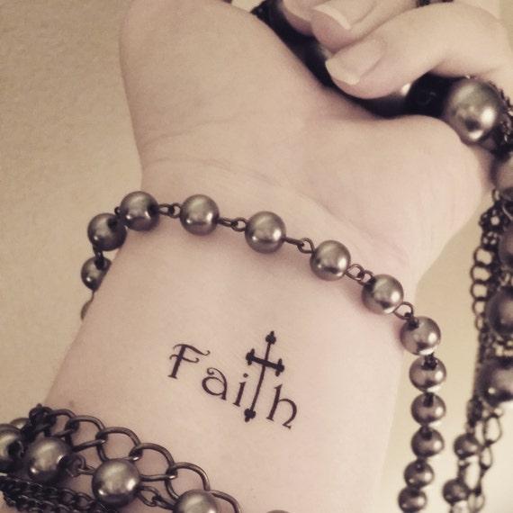 86333d3c4 Faith cross temporary tattoo religious tattoo fake tattoo word | Etsy