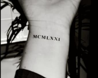 Roman numeral tattoos custom tattoos temporary tattoos fake tattoos
