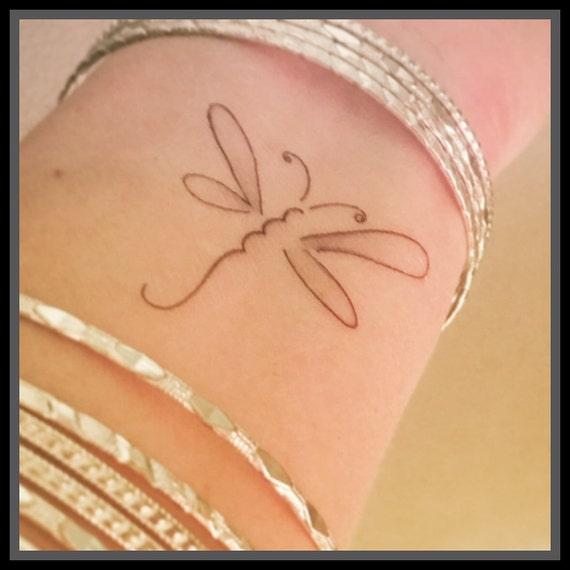 Dragonfly Temporary Tattoo Fake Tattoo Hand Drawn Tattoo