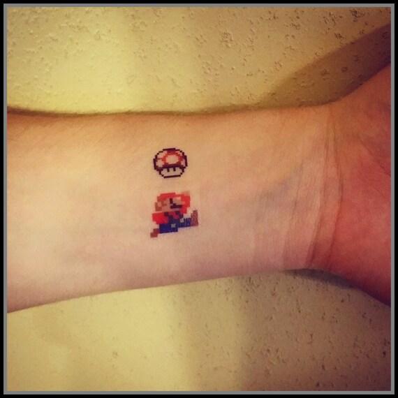 Mario Temporary Tattoo 8 Bit Mario And Mushroom Fake Tattoos Etsy