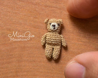 One micro crochet bear, dollhouse teddy bear in light brown