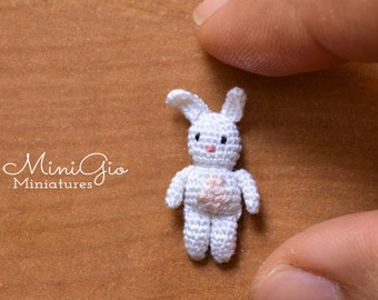 One micro crochet bunny, dollhouse stuffed rabbit
