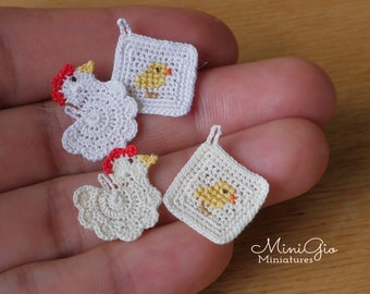 Set of 2 miniature tiny crochet potholders hen and chicken