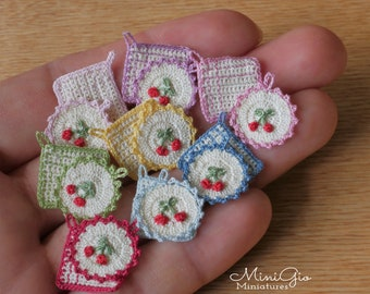 Set of 2 miniature tiny crochet potholders with cherries for dollhouse 1:12 scale