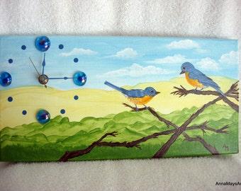 Bluebirds Flirting Clock