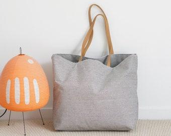 Oversized Denim Tote / Large Weekender / Beach Bag / Packable Bag / Lightweight Large Bag / Travel Tote