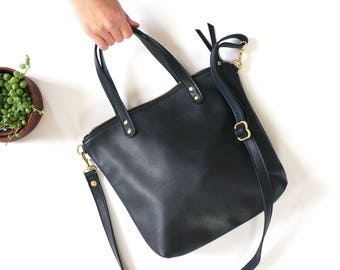aaa4df9039af Black Leather Mini Day Bag   Casual Tote   Everyday Bag   Simple Tote   Small  Bag  Travel   Crossbody