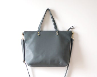 Gray Leather Day Bag / Gray Leather Tote / everyday bag / simple bag / lightweight bag / travel tote / leather crossbody / minimalist
