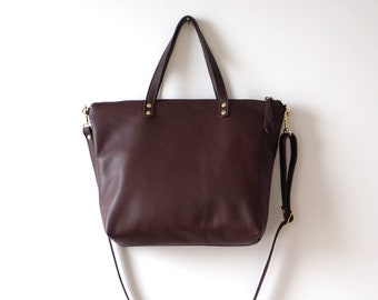 Plum Leather Day Bag / Soft Leather Tote / Plum Bag / Crossbody Bag / Tote Bag / Shoulder Bag / Casual Everyday Tote