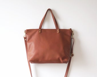 Rust Day Bag / Soft Leather Bag / Rust Red Leather Tote / Casual Bag / Crossbody Tote / Everyday Bag / Casual Tote / Simple Tote