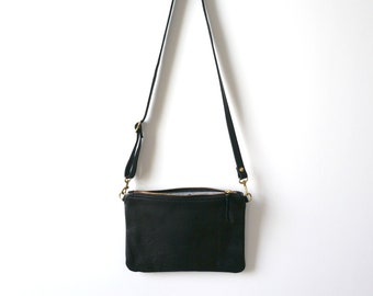 Black Leather Crossbody / Soft Leather Purse /  Pouch / Leather Bag / Black Bag / Everyday Bag / Lightweight Bag / Casual Crossbody