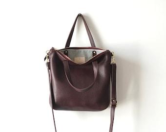 Plum Mini Day Bag / Soft Leather Crossbody Tote / Plum Bag / Casual Everyday / Purple Plum Crossbody Tote