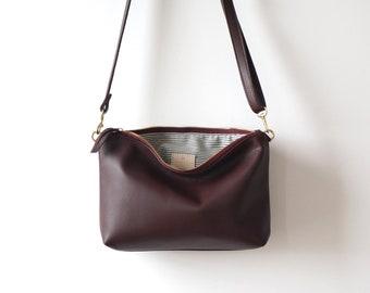Plum Mini Leather Hobo / plum Leather Purse / Hobo Bag / Casual Crossbody / Everyday Bag / Lightweight Bag