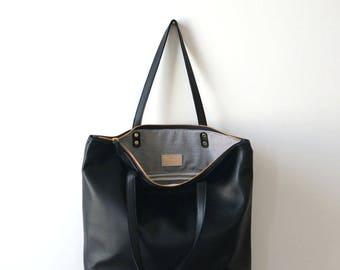 Black Leather Zipper Tote   Casual Tote   Everyday Bag   Simple Tote    Laptop Bag   Shopper tote  Tote Bag 1b7197aa04