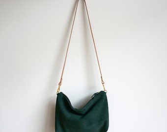 92016ddf757f Green Suede Mini Hobo   Suede Bag   Purse   Crossbody Bag   Shoulder Bag    Everyday Bag   Green Bag