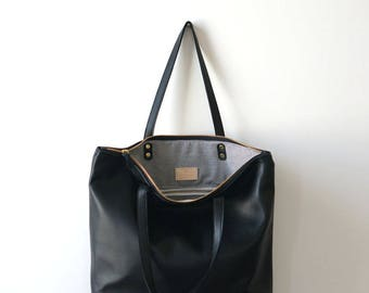 Black Zip Tote / Casual Leather Tote / Everyday Bag / Zipper Tote / Laptop Bag / Shopper tote /Tote Bag