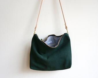 Green Suede Hobo Bag / Crossbody Purse / Day to Night Bag / Suede Shoulder Bag / Suede Hobo