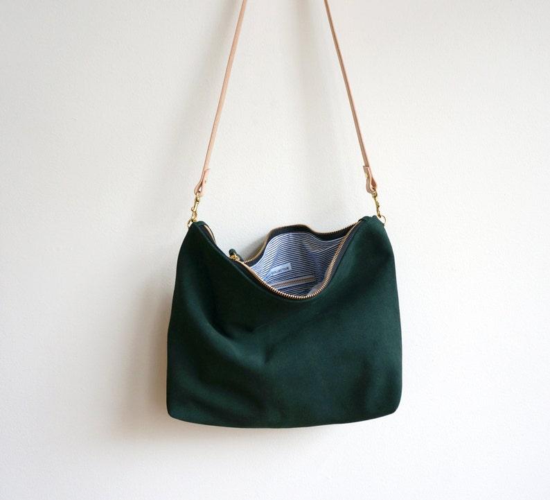 346f47784b Green Suede Hobo Bag Crossbody Purse