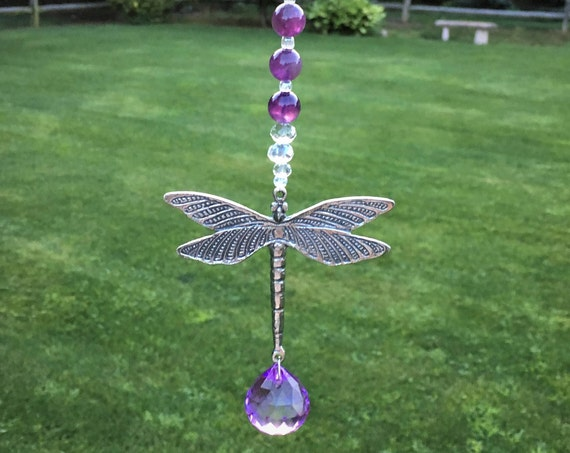 Rear View Mirror Gemstone Car Charm,Dragonfly Window Suncatcher,Amethyst Gemstone Window Ornament,Crystal Rainbow Prism,Car Mirror Hanger