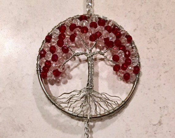 Crystal Tree Of Life Sun Catcher,Red,Pink Crystal Beaded Tree Window Ornament Suncatcher,Personalized Hanging Crystal Prism,Rainbow Maker