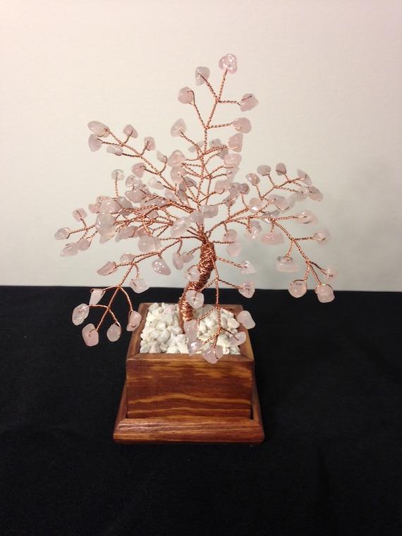 Rose Quartz Crystal Gemstone Tree, Wire Bonsai Tree Of Life,Feng Shui Decor,Rose Quartz Gemstone Tree Sculpture,Pink Crystal Beaded Tree