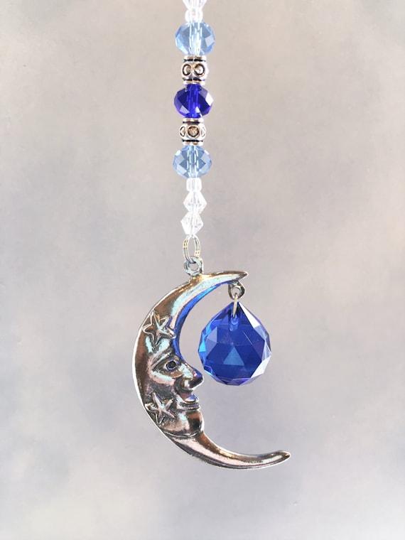 Crystal Car Ornament,Rear View Mirror Crystal Car Charm,Celestial Moon Window Sun Catcher,Hanging Moon Decor For Car
