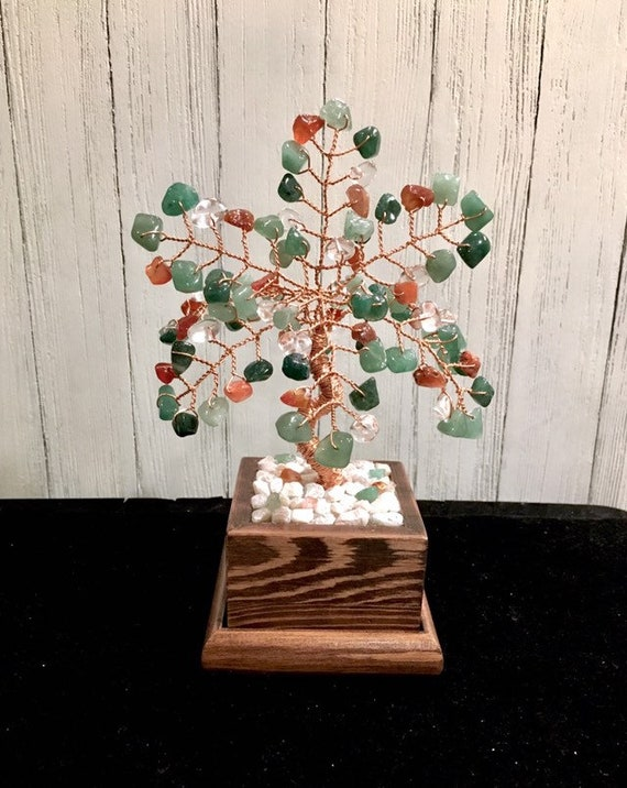 Natural Gemstone Tree Of Life,Healing Crytals Clear Quartz,Carnelian,Green Aventurine Wire Tree Sculpture,Beaded Stone Tree,Desk Decor